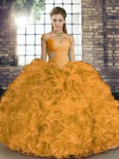 Excellent Orange Lace Up Vestidos de Quinceanera Beading and Ruffles Sleeveless Floor Length