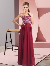 Elegant Floor Length Lace Up Prom Party Dress Wine Red for Prom and Party with Beading