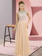 Peach Chiffon Zipper Prom Dress Sleeveless Floor Length Beading