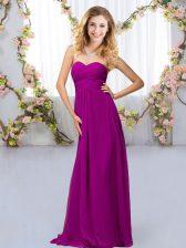 Delicate Purple Criss Cross Dama Dress Beading Sleeveless Floor Length