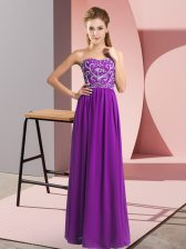Purple Chiffon Lace Up Sweetheart Sleeveless Floor Length Prom Party Dress Beading