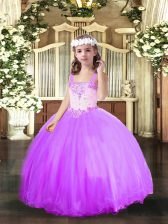 Beading Little Girl Pageant Gowns Lavender Lace Up Sleeveless Floor Length