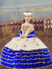 Floor Length Royal Blue Kids Formal Wear Organza Sleeveless Beading and Embroidery and Ruffled Layers
