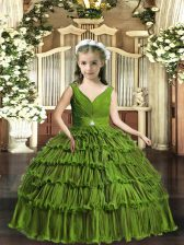 Sleeveless Floor Length Beading and Ruffled Layers Backless Little Girls Pageant Gowns with Olive Green