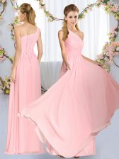 Sleeveless Chiffon Floor Length Lace Up Damas Dress in Baby Pink with Ruching