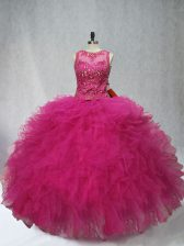 Fine Fuchsia Vestidos de Quinceanera Sweet 16 and Quinceanera with Beading and Ruffles Scoop Sleeveless Lace Up