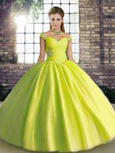 Off The Shoulder Sleeveless Vestidos de Quinceanera Floor Length Beading Yellow Green Tulle