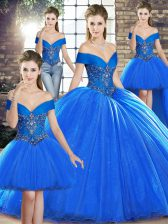 Deluxe Royal Blue Sleeveless Beading Lace Up Sweet 16 Quinceanera Dress