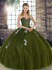 Olive Green Tulle Lace Up Vestidos de Quinceanera Sleeveless Floor Length Beading and Appliques