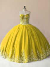 Clearance Sweetheart Sleeveless Quinceanera Gowns Floor Length Embroidery Olive Green Tulle