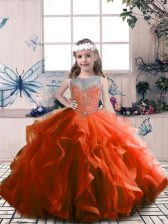 Beauteous Sleeveless Tulle Floor Length Lace Up Little Girls Pageant Gowns in Rust Red with Beading
