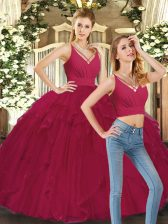 Great Red Ball Gowns Tulle V-neck Sleeveless Ruffles Floor Length Lace Up Ball Gown Prom Dress