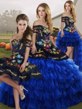 Dazzling Embroidery and Ruffled Layers 15 Quinceanera Dress Blue And Black Lace Up Sleeveless Floor Length