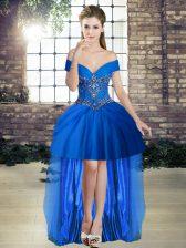 Royal Blue Off The Shoulder Lace Up Beading Evening Dress Sleeveless