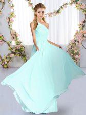 Blue Sleeveless Ruching Floor Length Quinceanera Dama Dress