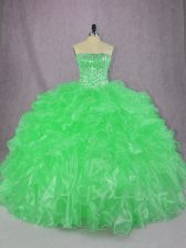Green Organza Lace Up 15 Quinceanera Dress Sleeveless Floor Length Beading and Ruffles