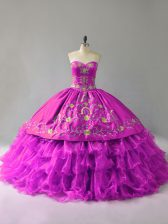 Organza Sweetheart Sleeveless Lace Up Embroidery and Ruffles Quinceanera Gowns in Purple