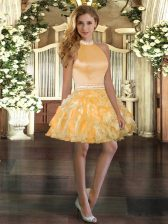 Low Price Gold Halter Top Neckline Beading and Ruffles Prom Gown Sleeveless Backless