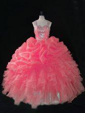 Deluxe Sleeveless Beading and Ruffles and Pick Ups Zipper 15 Quinceanera Dress with Baby Pink