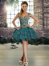 Hot Selling Mini Length Dark Green Prom Party Dress Organza Sleeveless Beading and Lace