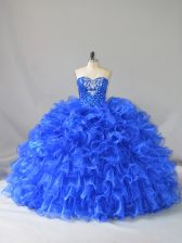 Fabulous Royal Blue Ball Gowns Ruffles and Sequins Sweet 16 Dresses Lace Up Organza Sleeveless Floor Length