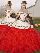 Best Selling White And Red Organza Lace Up 15 Quinceanera Dress Sleeveless Floor Length Embroidery and Ruffles