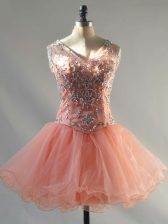 Attractive Peach Ball Gowns V-neck Sleeveless Tulle Mini Length Lace Up Beading Dress for Prom