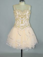 Champagne Tulle Lace Up Prom Dresses Sleeveless Mini Length Beading and Ruffles