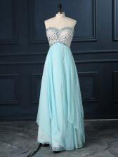 Sweetheart Sleeveless Prom Party Dress Floor Length Beading Light Blue Chiffon
