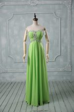 Dynamic High Low Evening Dress Chiffon Sleeveless Beading and Ruching