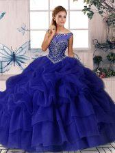 Sleeveless Beading and Pick Ups Zipper 15 Quinceanera Dress with Purple Brush Train