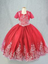 Fancy Tulle Sleeveless Floor Length Pageant Gowns For Girls and Beading and Embroidery