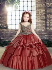 Red Sleeveless Floor Length Beading Lace Up Pageant Dress for Teens