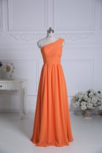 Customized Chiffon One Shoulder Sleeveless Zipper Ruching Court Dresses for Sweet 16 in Orange