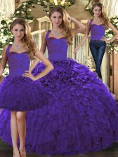Sleeveless Lace Up Floor Length Ruffles Quinceanera Dresses