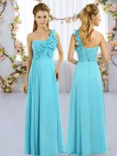 Aqua Blue Lace Up One Shoulder Hand Made Flower Quinceanera Court Dresses Chiffon Sleeveless