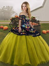 Hot Selling Olive Green Sleeveless Tulle Lace Up Quinceanera Gown for Military Ball and Sweet 16 and Quinceanera