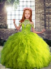 Custom Fit High-neck Sleeveless Tulle Kids Formal Wear Beading and Ruffles Lace Up