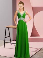 Excellent Green Prom Evening Gown Prom and Party with Beading V-neck Sleeveless Lace Up