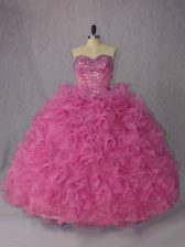 Adorable Organza Halter Top Sleeveless Brush Train Lace Up Beading and Ruffles Quinceanera Dress in Rose Pink