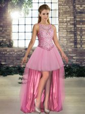 High Low Pink Prom Gown Scoop Sleeveless Lace Up
