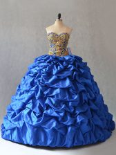 Cheap Blue Sweetheart Neckline Beading and Pick Ups Quince Ball Gowns Sleeveless Lace Up