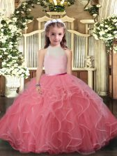 Ball Gowns Little Girls Pageant Dress Wholesale Watermelon Red High-neck Tulle Sleeveless Floor Length Backless