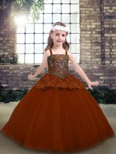 Rust Red Sleeveless Beading and Lace Floor Length Kids Pageant Dress