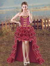Pretty Sweetheart Sleeveless Prom Dress High Low Embroidery and Ruffles Burgundy Organza