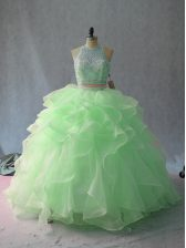 High Quality Apple Green Two Pieces Beading and Ruffles 15th Birthday Dress Backless Sleeveless