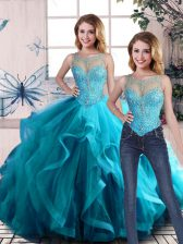 Edgy Aqua Blue Sleeveless Floor Length Beading and Ruffles Lace Up Quinceanera Dresses