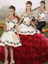 Wine Red Sleeveless Floor Length Embroidery and Ruffled Layers Lace Up Quinceanera Gowns