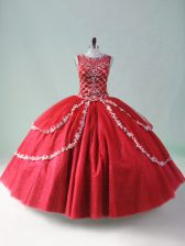 Wonderful Ball Gowns Quinceanera Gowns Red Scoop Tulle Sleeveless Floor Length Zipper