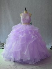 Halter Top Sleeveless Organza Quinceanera Dresses Beading and Ruffles Backless